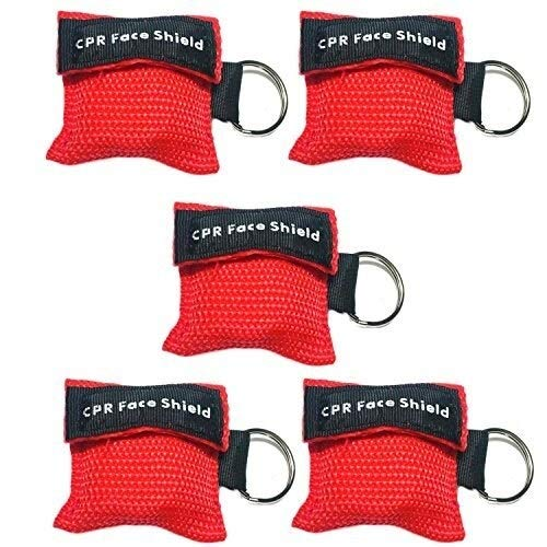 FANPING 5 Stück Einweg-CPR-Maske Gesichts-Schild Erste-Hilfe-Maske mit Einweg-Ventil-Schlüsselring for Erwachsene und Kinder einfach zu tragen Farbe Rot