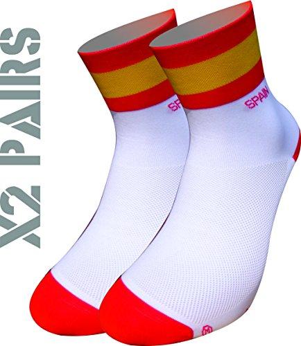 España TKS socks pack 2 PARES SOFTAIR+, ciclismo, running, triatlon, golf y deportes en general. (M(40-42)(6.5-8UK))