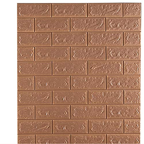5 pieces of 3D foam wall stickers PE waterproof self-adhesive wallpaper tiles home decoration children's room decal living room 70 * 77cm-Brown_70cmx77cm