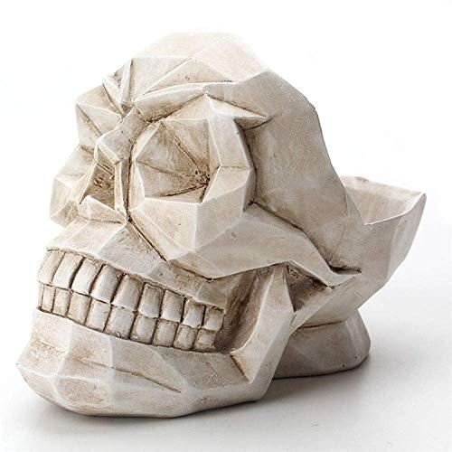 KMILE Creaty Blanco Resina Resina cráneo artesanía Modelo Decorativo Oficina Oficina casa Grabado geométrico Imagen Origami Escritorio teléfono joyería Caja de Almacenamiento decoración