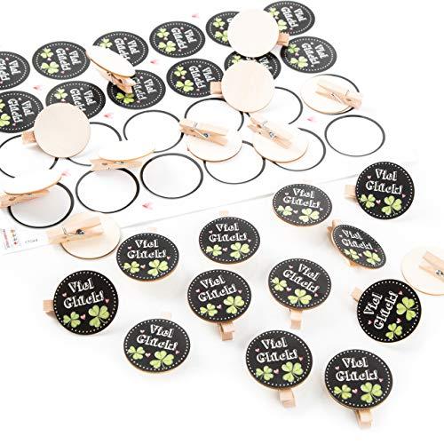 Logbuch-Verlag 24 VIEL GLÜCK Aufkleber + 24 Holzklammern mit runder Scheibe Natur Glücksbringer Sticker schwarz weiß grün Kleeblatt Geschenk Prüfung