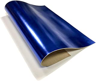 Genuine Leather Metallic Leather Fabric (Royal Blue, 10x10In/ 25x25cm)