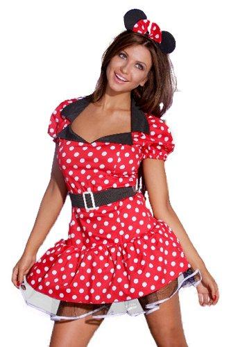 r-Dessous Maus Kleid Micky mit Ohren, Gürtel und String Minnie Maus Groesse: L/XL