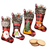 Generep 4 Pack Christmas Stockings, Ultra Large 18' Xmas Stockings, Burlap Plaid Style Plush Faux Fur Cuff with Santa Snowman Reindeer Christmas Tree Pattern, 4 Pieces Natural Graffiti Wood Chips