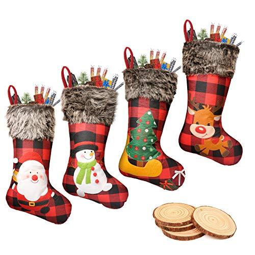 ROSFORU 4 Pieces Weihnachtssocken Beutel Weihnachtssocke Christmas Stockings Zucker Beutel Weihnachtsbaum Deko Gift for Family