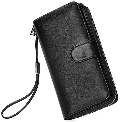 Portafoglio Donna Pelle Grande Capacità Lunga Portamonete Bloccaggio RFID, Elegante Donna Wallet Portafoglio con Cerniera Tanti Scomparti Nero