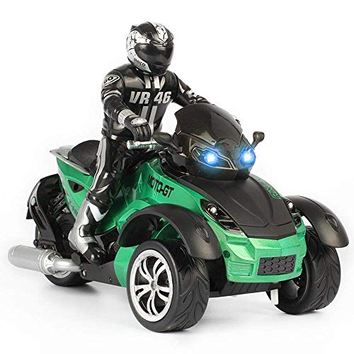 Llpeng 1/10 RC Car High-Speed Racing 3 Räder ATV Ready-to-Run-Motorrad-Tricycle Off-Road Fahrzeug Spielzeug for Kinder Kinder RC Car RC Autos (Farbe: gelb) (Color : Green)
