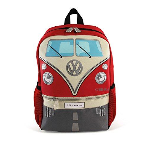 BRISA VW Collection - Stylisher & lässiger Volkswagen Kinder-Rucksack, Tages-Wander-Rucksack VW T1 Bulli Bus Front (15l/Klein/Rot)