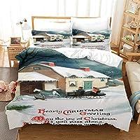 寝具セット3Dデザインパターンキングサイズ羽毛布団キルトカバー 200x200cm 美しいクリスマススノーハウス マルチカラーベッドルーム装飾ベッドセットジッパークロージャーイージーケア