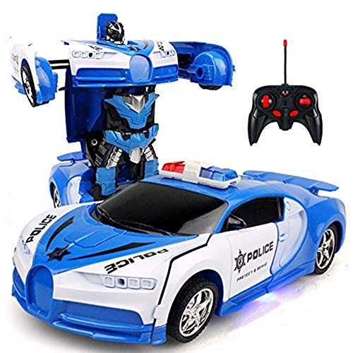 teyiwei Coche teledirigido 2 en 1 para niños y niñas, modelo 1/18, transformador, robot con transformación de un botón y juguete teledirigido (azul-2)