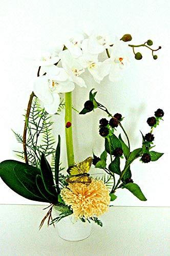 Orchidee Arrangement Kunstblumen Künstliche Blumen Büro Deko Dekoration Weiß K48 (K48-03)