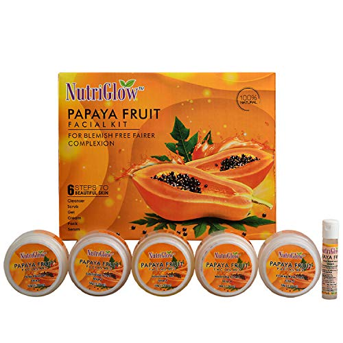 NutriGlow Papaya Facial Kit (260 Gm) | Blemish Free and Fairer Skin | No Parabens & Sulphates/Hyderate skin/Brightening/all skin types