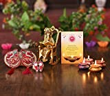 Collectible India Diwali Gifts Hampers for Family and Friends Corporate (Ganesha idol / Gold Plated Ganesha Statue For Home Décor / Matki Wax Diya Candles Tealight/ Shubh Labh Toran Door Hanging/lakshmi charan paduka sticker Feet/ Greeting Card)- Gift For Mom Dad Sister Brother employees – Diwali Festival Gift Decoration Items