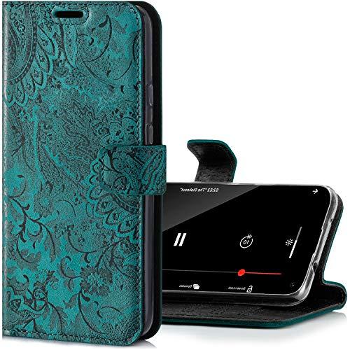 SURAZO Handyhülle für Samsung S20 FE Hülle – Premium Echtleder Schutzhülle mit [Standfunktion, Kartenfach, RFID Schutz] Blumen Klappbar Klapphülle Wallet case Handmade für Samsung Galaxy S20 FE 5G/4G