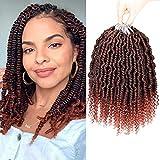 Bomb Twist Crochet Hair 10 Inch 6 Packs Spring Twist Braiding Hair Pretwisted Passion Twist Crochet Braids Passion Twist Mini Twist Hair with Curly End(1B/350)
