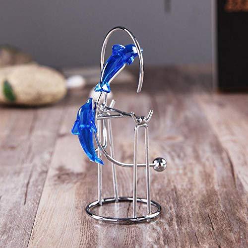 pendulo newton,Decoración de EscritorioMini columpio de delfín azul,instrumento perpetuo,adornos artesanales de Metal,cuna de Newton,decoración de escritorio para el hogar,figurita de regalo, recuerdo