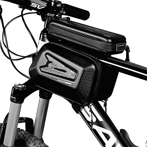 Abodos Fahrradrahmentasche TPU Touchscreen Große Kapazität Eva wasserdichte Fahrradtasche Griff Tasche Geeignet Für Wanderfahrräder, Rennwagen Und Mountainbikes,Schwarz