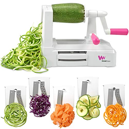 WonderEsque Zoodle Maker Vegetable Spiralizer - Veggie Spiral Slicer - Zucchini Spaghetti Noodle Pasta Maker - Includes Cleaning Brush and Spiralizer Recipes EBook - More Compact