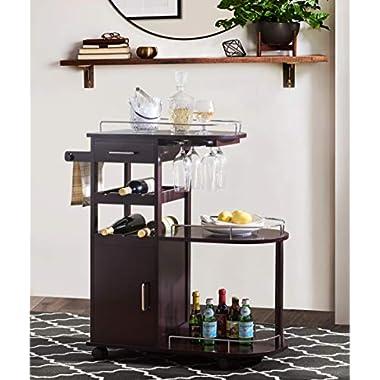 2L Lifestyle Sherwood Bar Entertainment Cart, Small, Espresso