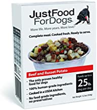 JustFoodForDogs PantryFresh Dog Food, Human Quality Ingredients Ready to Serve Food for Dogs - Beef & Russet Potato (Set of 6)