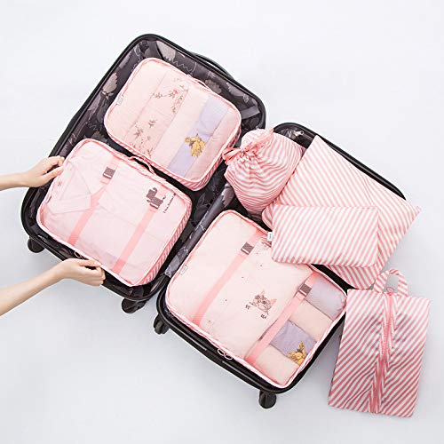 Lanbowo 7pcs Waterproof Packing Compression Clothes Storage Bag Travel Insert Case Set,Packing Cubes for Travel, 7Set Luggage Organiser for Suitcase
