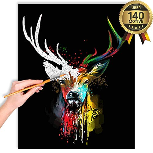 malango® Malen nach Zahlen Set Farben Hirsch über 140 Motive für Erwachsene und Kinder DIY Leinwand Ölgemälde 40 x 50 cm auf Rahmen gespannt Farben Hirsch