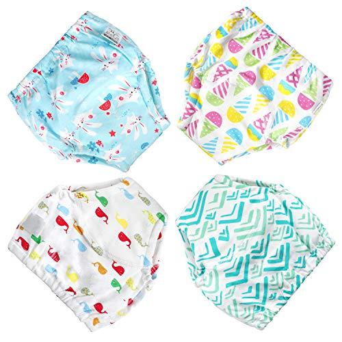 Flyish - Pañales de aprendizaje lavables para bebé de 1 a 3 años, antifugas, 4 unidades Fillea 4 años