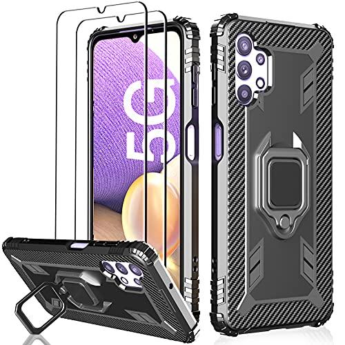 Milomdoi [3 Articulos] 1 Funda +2 Packs Cristal Templado para Samsung Galaxy A32 5G, [Not Fit for 4G] [Grado Militar Anti-Caída] Soporte Giratorio de 360°Grados con Anillo Dedo-Negro