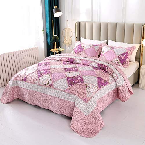 VIVILINEN Gesteppte Tagesdecke-Set, 3-teilig, Queen-Size-Quilt-Set, Blumenmuster, Patchwork, wendbar, genäht, Bettbezug, Decke mit 2 Kissenbezügen für alle Jahreszeiten (Rosa, Full/Queen-Size)