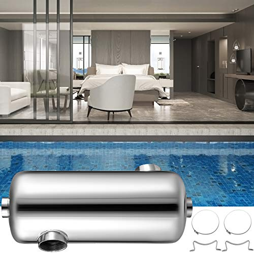 "Patiolife Pool Heat Exchanger 135 KBtu/h Tube Shell Heat Exchanger Opposite Side Ports 1 1/2"" & 1"" FPT Stainless Steel Swimming Pool Heat Exchanger for Marine Swimming Pool Solar Spa"