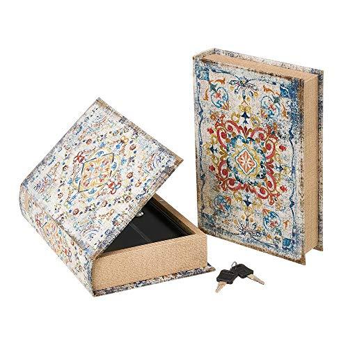 Set de 2 Cajas Libro de caudales de Seda y Metal con Mosaico Azules - LOLAhome