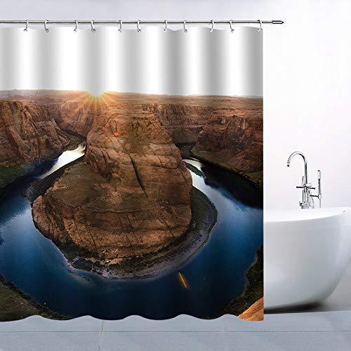 N\A Canyon Duschvorhang Dekor Weißer Himmel Gelb Goldene Sonne Canyon Blue River Wasserdichtes Polyester