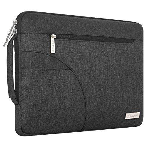 MOSISO Laptop Schultertasche Kompatibel mit 2019 MacBook Pro 16 Zoll Touch Bar A2141, 15-15,4 Zoll MacBook Pro Retina 2012-2015, Polyester Flapover Bote Aktentasche Laptoptasche, Schwarz - 6