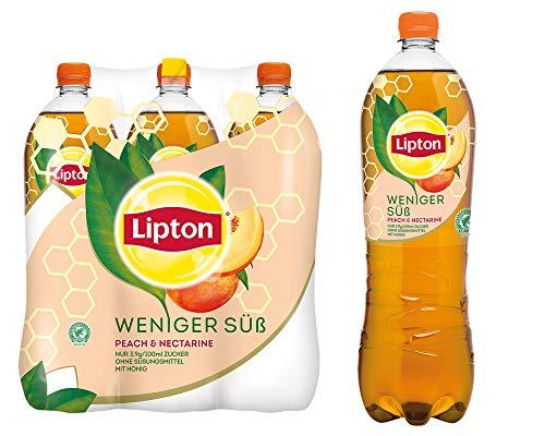 LIPTON ICE TEA Weniger Süß Peach & Nectarine, Die weniger süße Erfrischung mit Pfirsich & Nektarinen Geschmack (6 x 1.25l)
