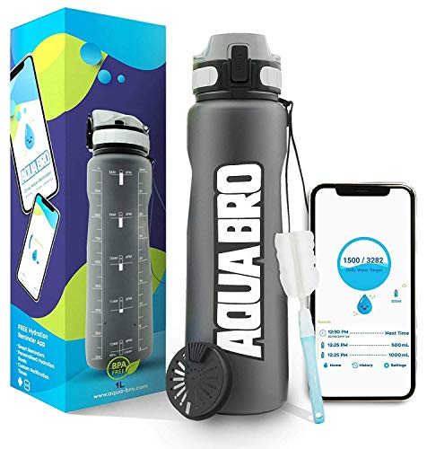 Aquabro Motivational Water Bottle with Time Marker Daily Intake Tracker Hydration APP...