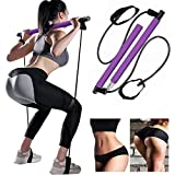 Bssay Yoga Exercise Pilates Bar Portable Yoga Pilates Bar Kit Pilates Yoga Stick Pilates Exercise Stick with Resistance Bands Yoga Bar with Foot Loop Total Body Workout Exercise Bar for Stretching