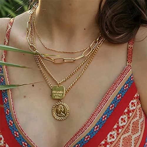 CXWK Colgante de Moneda de Napoleón en Capas Vintage, Collar Llamativo de Oro, Cadenas Grandes, Collar con Letras cuadradas, joyería con dijes