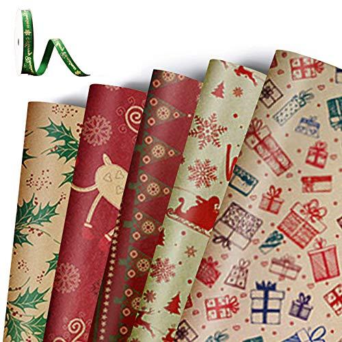 MIFIRE Papel de regalo Kraft navideño, paquete de 5 hojas grandes de 76 x 50 cm con 5 diseños navideños, paquete...