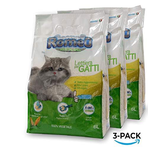 ROMEO Vegetal Ball, lettiera per gatti 18 litri sabbia gatto agglomerante, 100{9cd5563a95781758da1e132107d692a961c66687c46da7514ffb53601d94fc49} vegetale mais bianco, lettiera gatto assorbe e neutralizza odori e liquidi, sabbia per gatti smaltibile nel Wc, organico