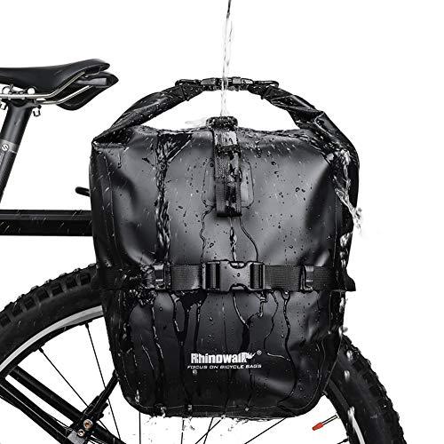 Rhinowalk Fahrradtasche 20L TPU Wasserdichtes Fahrrad Gepäcktaschen Reißfest Rücksitz Gepäckträger Tasche MTB Fahrrad Satteltaschen Schwarz