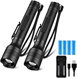 Brightest LED Flashlights Rechargeable 2 Pack, Waterproof 1500 High Lumen Handheld Flashlights with 5 Light Modes and Pocket Clip for Emergency or Camping(4 pcs 18650 Battery and Charger Included)