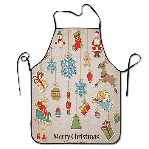 Not Applicable Noel Xmas Winter Holiday Themed Feier Objekte Retro Grafik Stil Schürze für Küche BBQ Barbecue Koch Chef Geschenk für Frauen/Männer