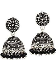 Preyans From Jaipur Mart Oxidised Brass Metal Jhumki Earrings for women's/Girl's (GSE676BLK)