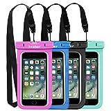 ivoler [Pack de 4] Pochette Étanche Téléphone [Certifiée IPX8] Etui/Housse/Coque Étanche Smartphones Universel Sac Protection pour iPhone, Samsung, Huawei, Jusqu'à 6,5'' (Nior/Bleu/Vert/Rose)