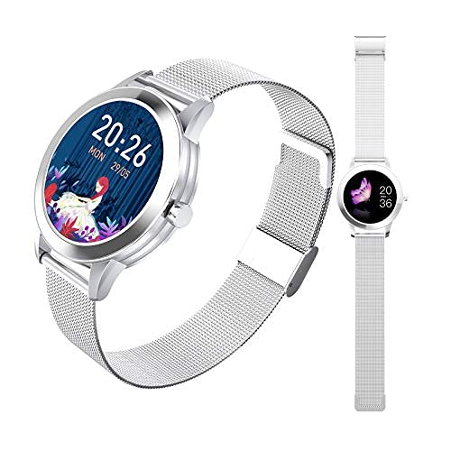 HQPCAHL - Reloj inteligente con monitor de ritmo cardíaco, IP68 impermeable con podómetro, para mujer, color plateado
