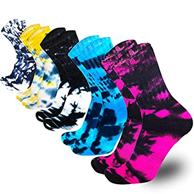 Women's Hiking Walking Socks, 5 Pairs Wool Outdoor Hiking Trail Crew Socks (Assorted 01, 6-10 (US SIZE))