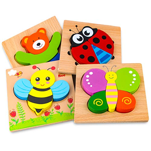 SKYFIELD Wooden Animal Puzzles for Toddlers 1 2 3 Years Old  Boys & Girls Educational Toys Gift with 4 Animals Patterns  Bright Vibrant Color Shapes  Customized Gift Box Ready