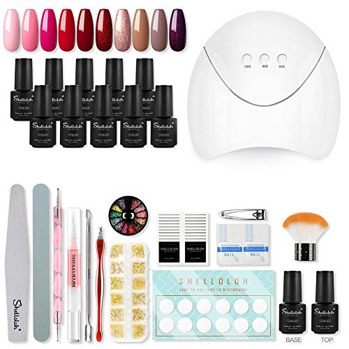 Shelloloh 10st Semipermanent Nails Complete Kit 36W LED Nagellamp Kit Gel Professionele Nagelreconstructie
