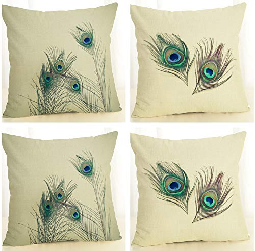 SCVBLJS Peacock Feather Cotton Linen Decorative Pillow Case Cushion For Home Bedroom Indoor Outdoor 45X45Cm