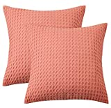 PHF 100% Cotton Waffle Weave Euro Sham, 26' x 26', Set of 2, Soft and Cozy, Home Decorative Euro Throw Pillow Covers for Couch Sofa Bed, No Filling, Light Coral